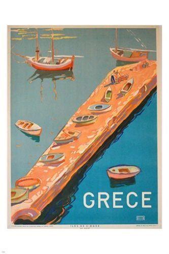 St # 2436 #Barche # Colorare # Grecia # MEDITERRANEO #Poster The Post GRECE BOAT …