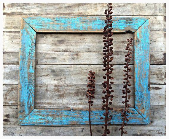 barnwood frame turquoise distressed frame country chic rustic decor large frame reclaimed handmade frame by on etsy - Barnwood Frames