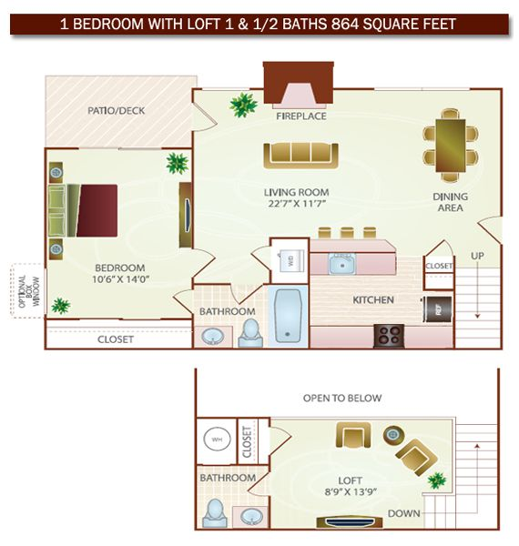 1 Bed with Loft   Bath   864 square feet. small 2 bed 1bath with loft floor plans         VA in Kingstowne