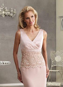 Chic Mother Of Bride Lique Column Ruffle Pink Satin Floor Length