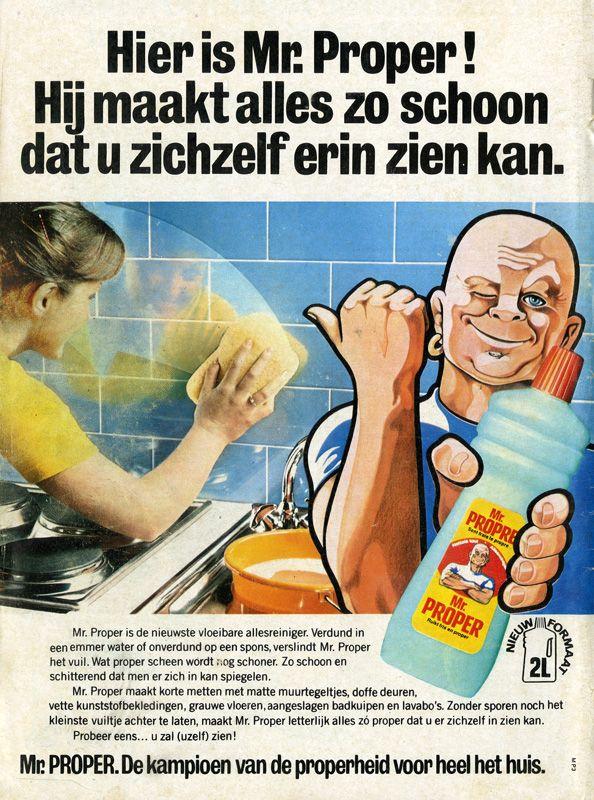 Bekend Reclame voor schoonmaakmiddel Mr. Proper   reclame van vroeger &TR94