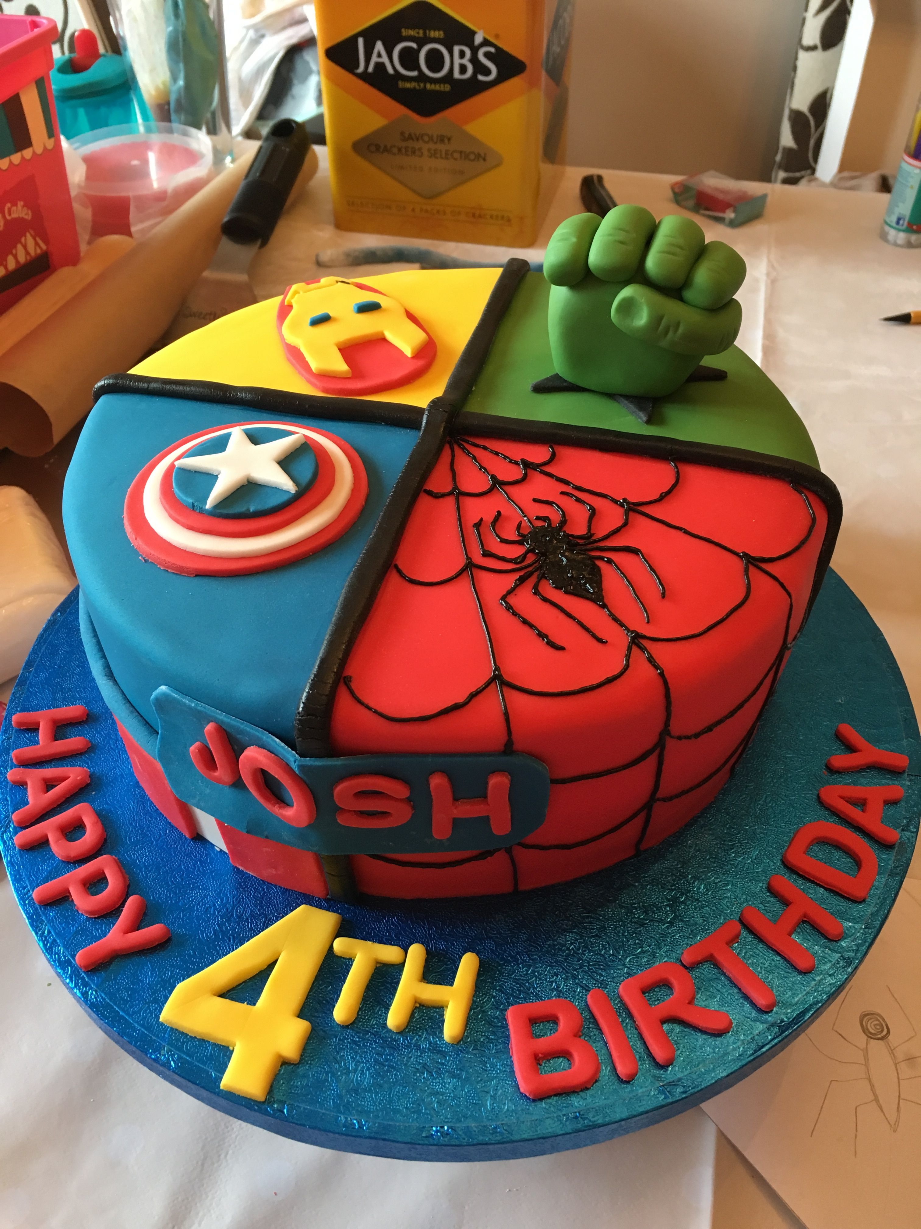 Avengers cake victoria sponge with jam buttercream