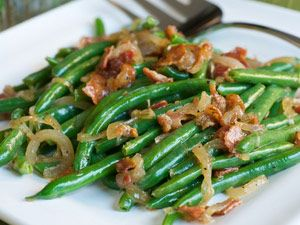 Simple and packed with flavor, onions and bacon are the perfect complement to farmstand-fresh green beans.