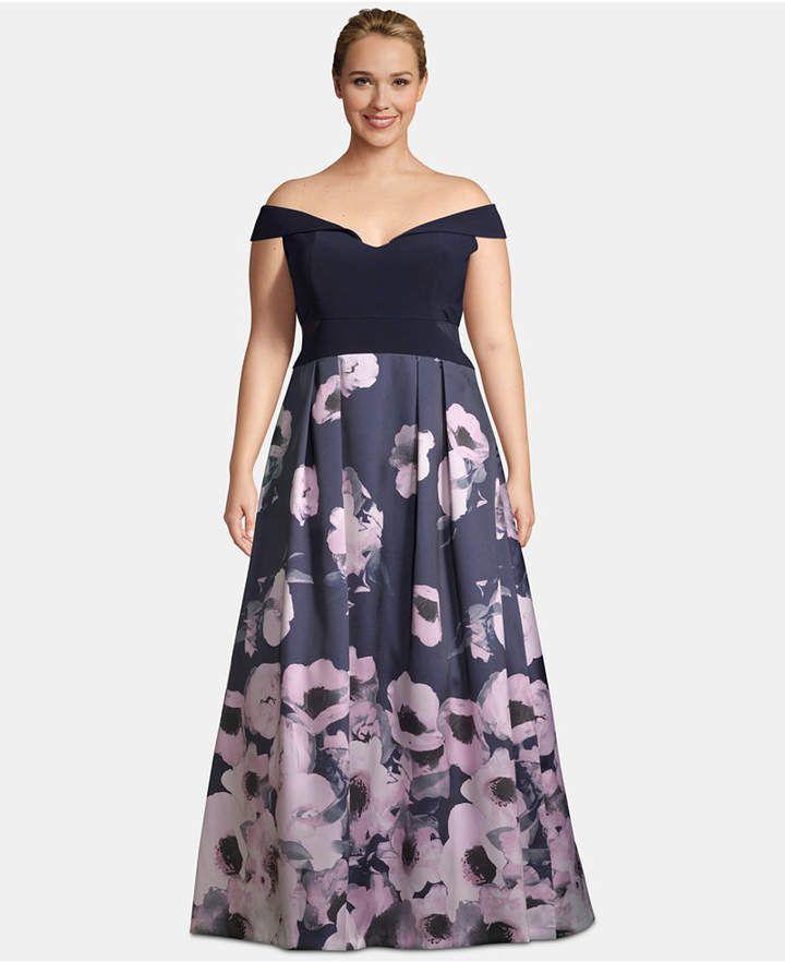 9c08f94f X by Xscape Plus Size Off-The-Shoulder Floral-Print Gown - Blue 14W ...