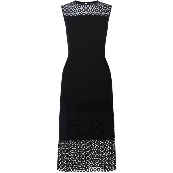Hobbs Penelope Dress, Black ($185) ❤ liked on Polyvore featuring dresses, little black dress, fitted maxi dresses, maxi dress, sleeved maxi dress and lace sleeve dress