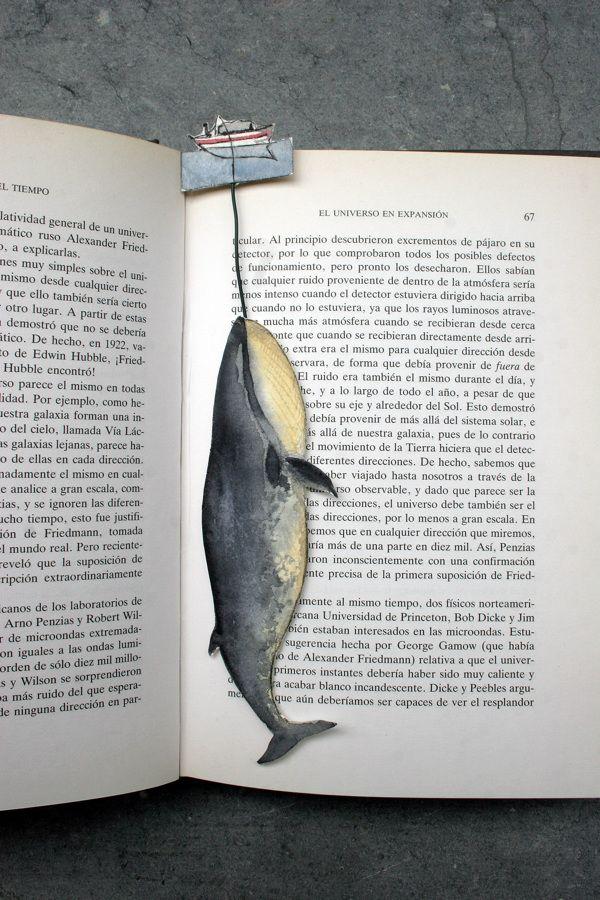 Marcador de livro em forma de baleia por Sylvia Cairoli, via Behance                                                                                                                                                     Mais