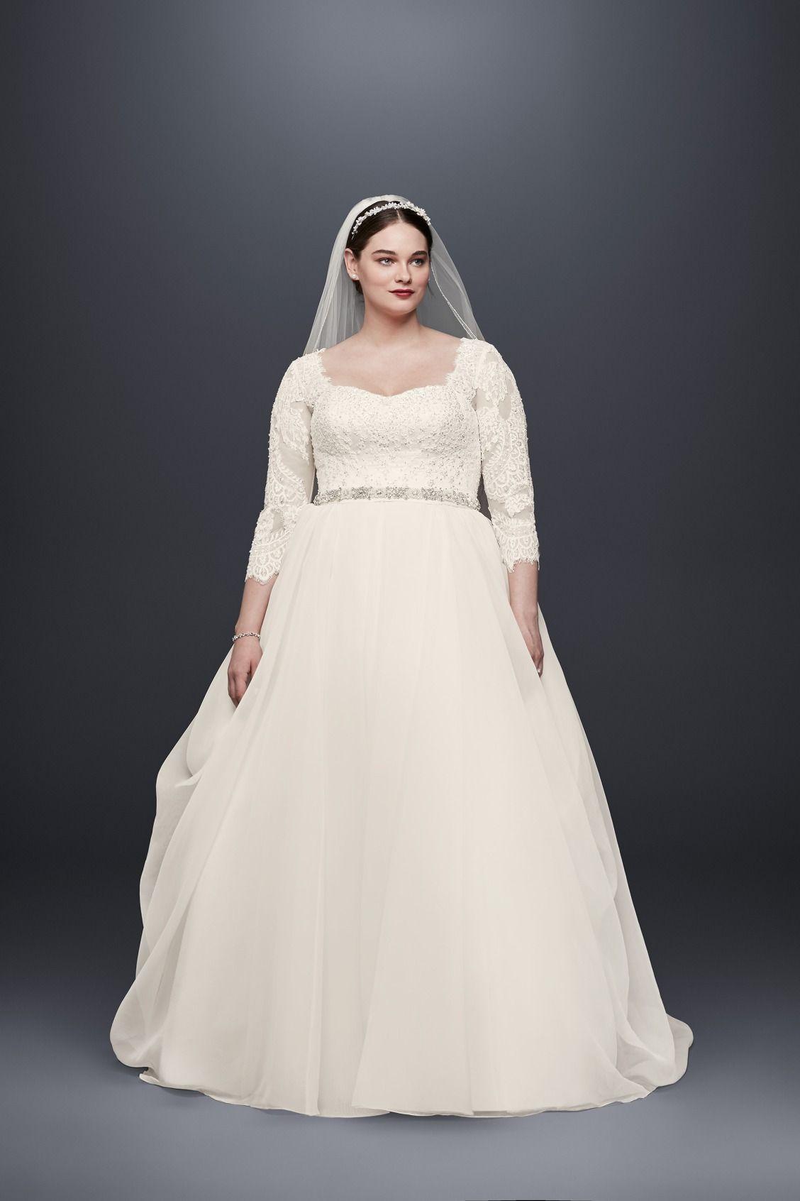 fall wedding dress inspiration | 3/4 sleeve lace and organza plus