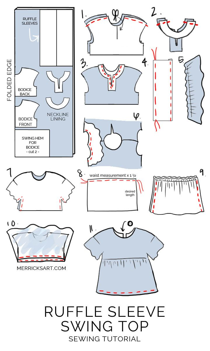 How to Make a Gingham Ruffle Sleeve Top | Moldes de ropa, Patrones ...