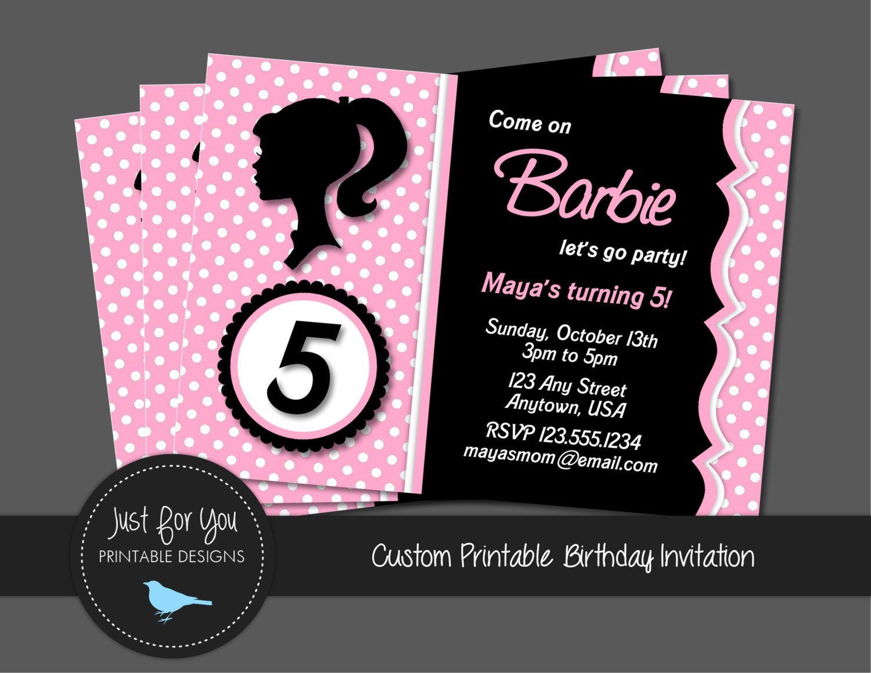 Barbie Invitation - Vintage Retro - Zebra Print or Polka Dot ...