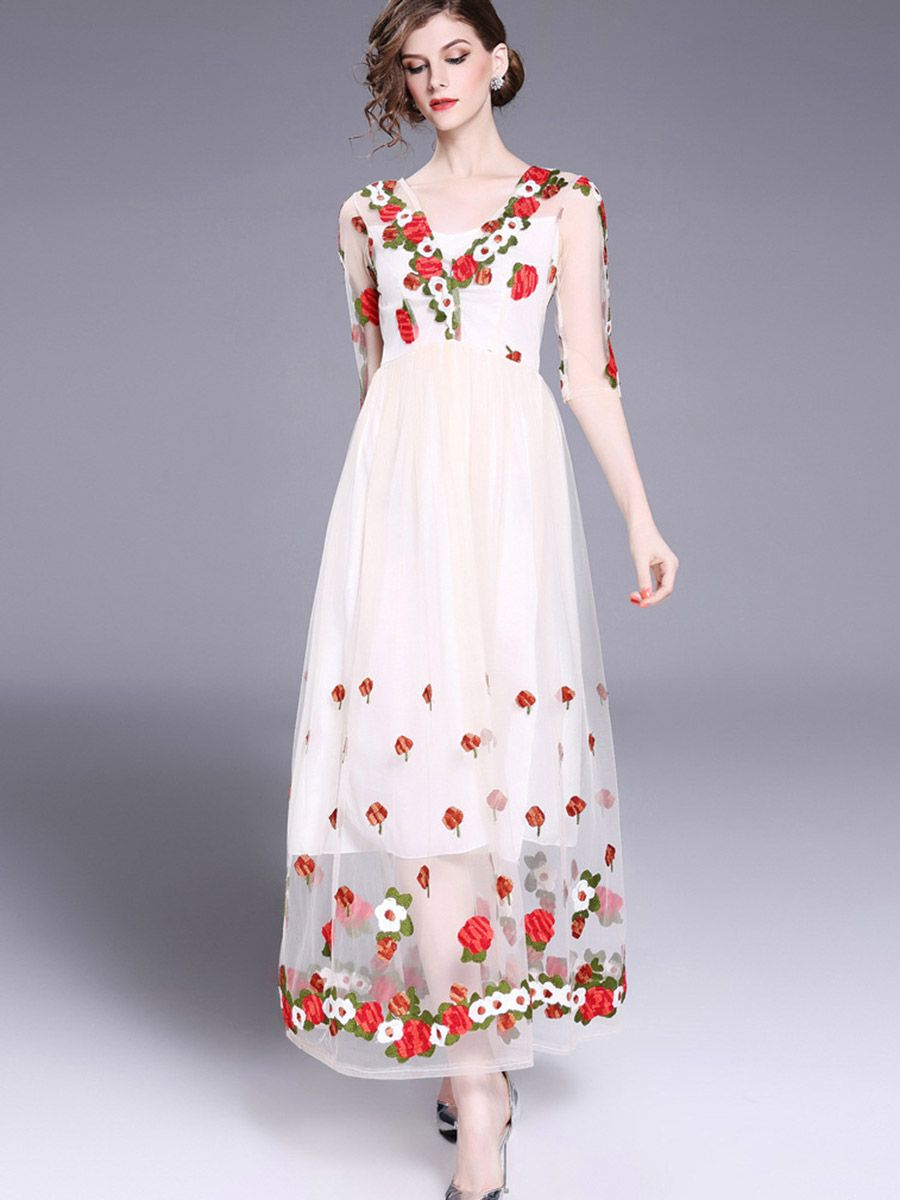Organza embroidery womenus maxi dress maxi dresses embroidery and