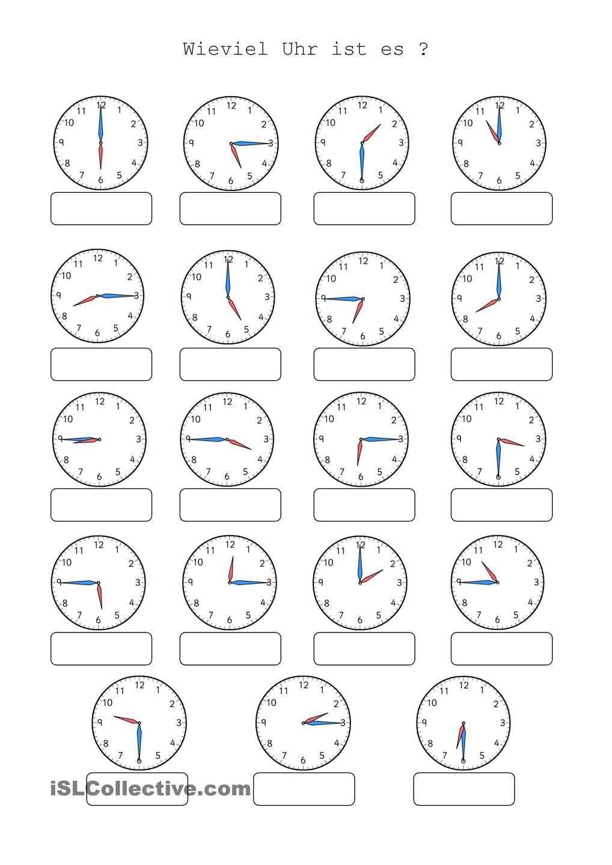 Uhr lernen arbeitsblätter  Wieviel Uhr ist es | Uhren, Arbeitsblätter und Deutsch