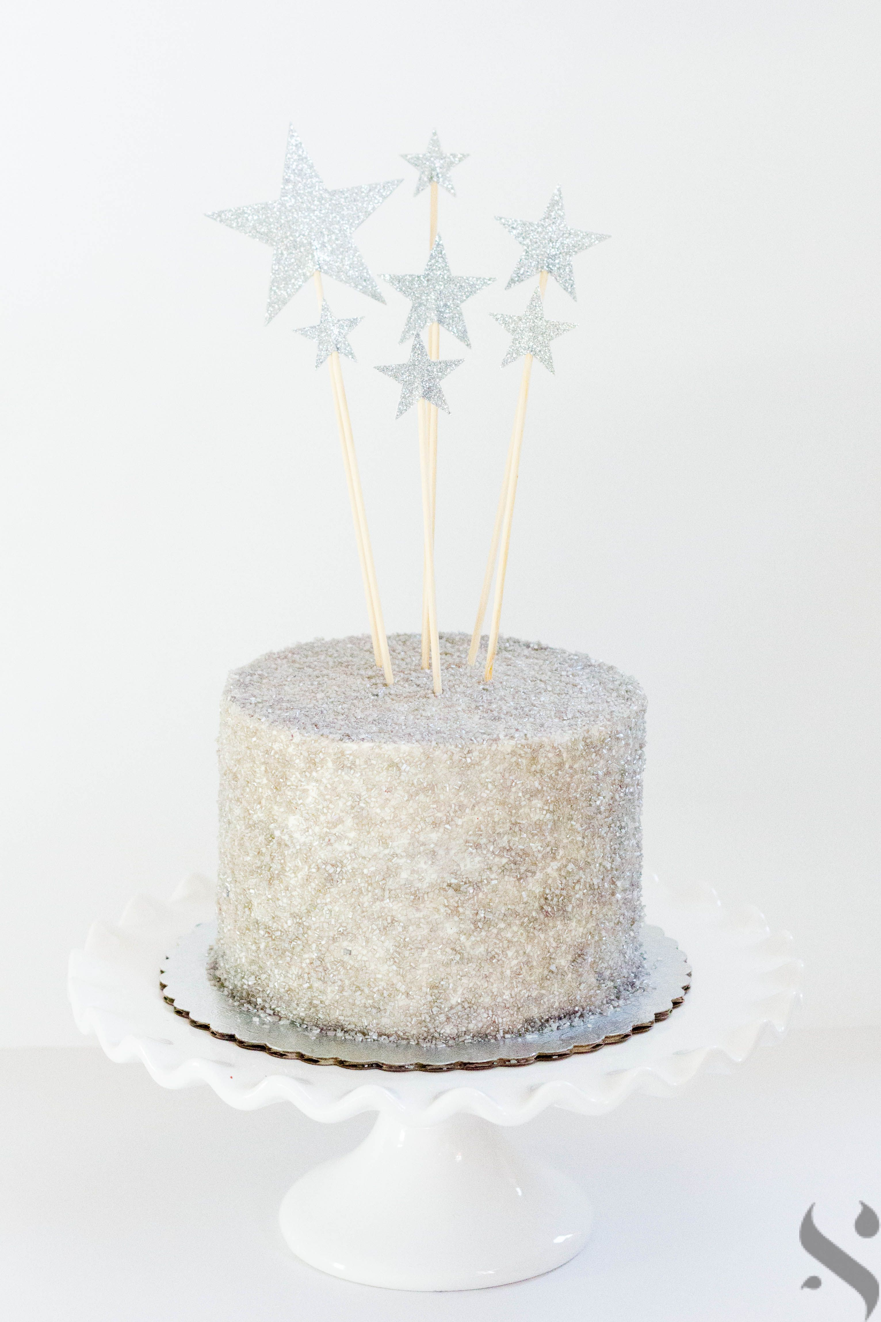 buttercream cake with metallic silver sanding sugar and cake toppers ...