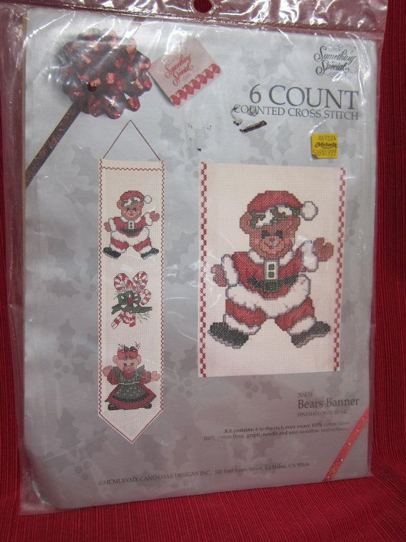 SALE. Christmas Bear Cross-Stitch Kit. 2 Banners. 6 count by Something Special.  Easy and Fast. Cheap