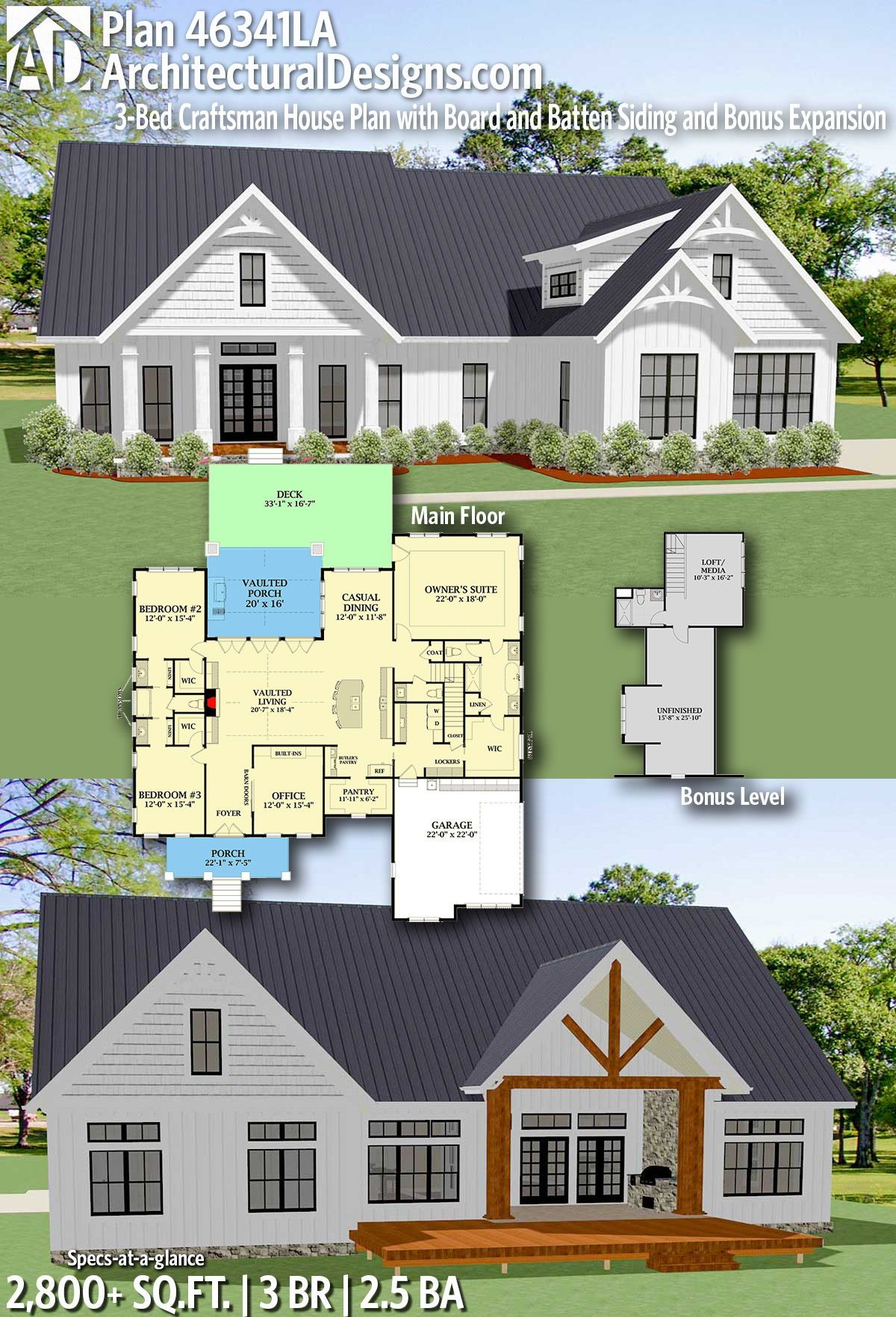 Plan 46341la 3 Bed Craftsman House Plan With Board And Batten Siding And Bonus Expansion Craftsman House Plans Craftsman House New House Plans