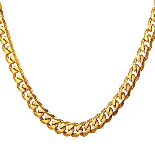 U7 Real 18k Gold Plated Curb Link Necklace Minimalist Rapper Jewelry Men Women 6mm Cuban Chain 22 Inch Gold Chains For Men Chains For Men Gold Chains