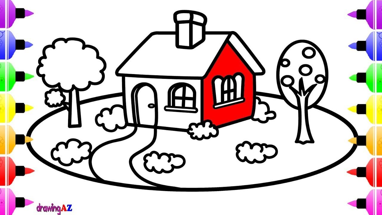 House Drawing and Coloring for Doll & Children\'s Coloring Pages ...