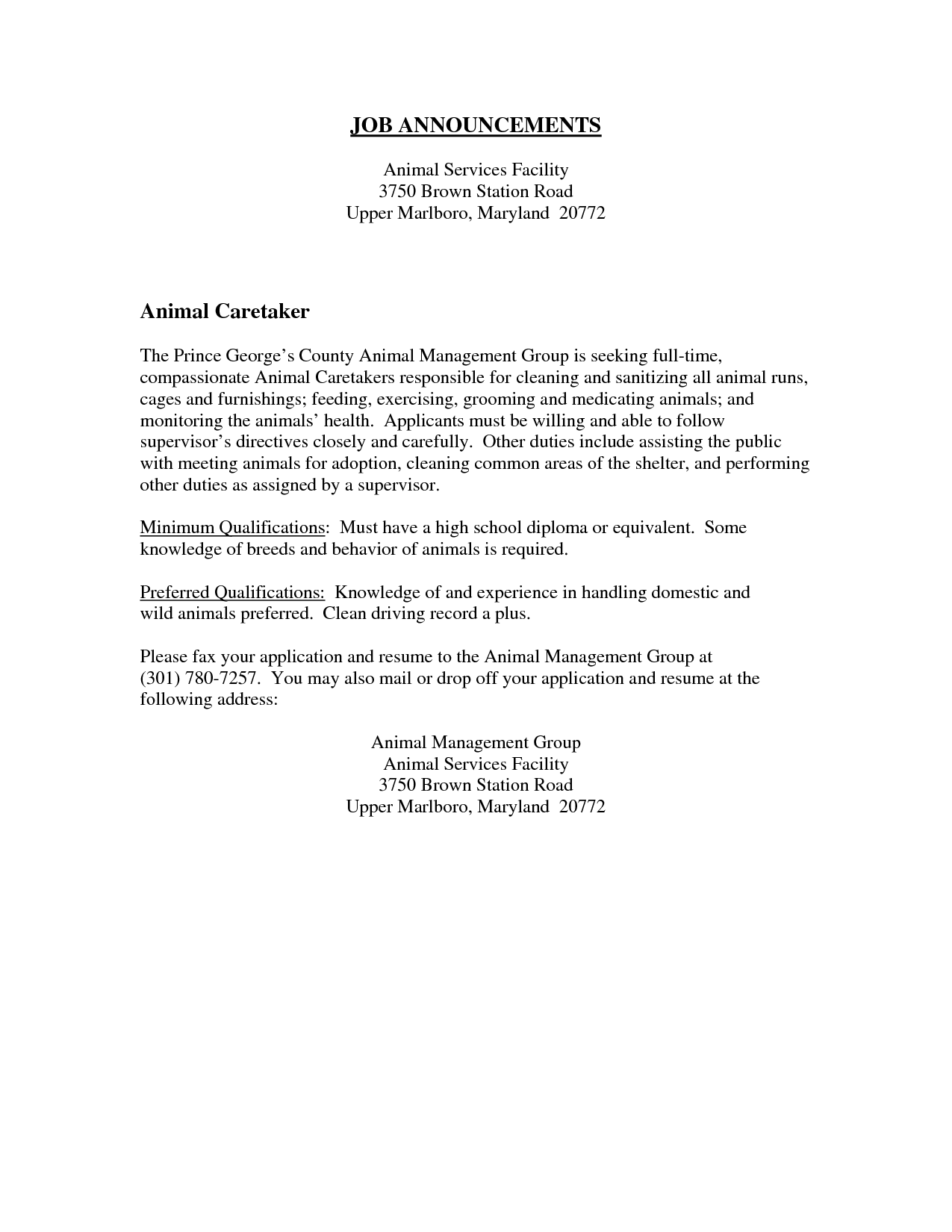 Animal Caretaker Resume Sample Sample Letters To Write A Cover Letter To Introduce A