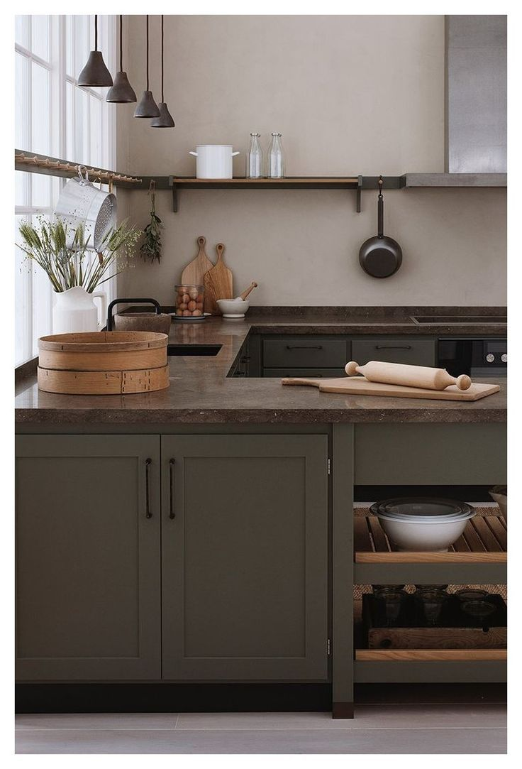 Gorgeous Kitchen With Olive Green Cabinets Deep