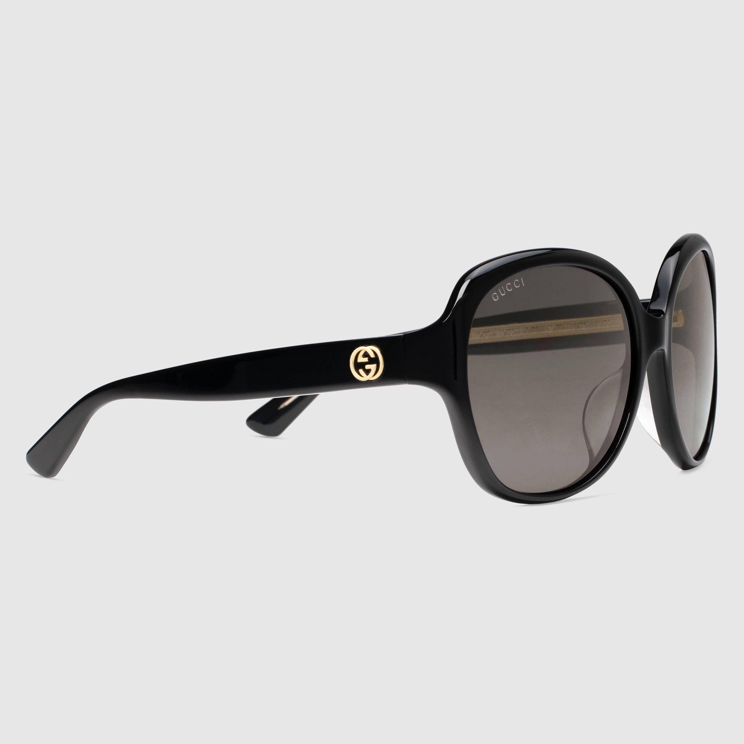 Extragroße Sonnenbrille mit rundem Rahmen aus Azetat   Rahmen und Runde
