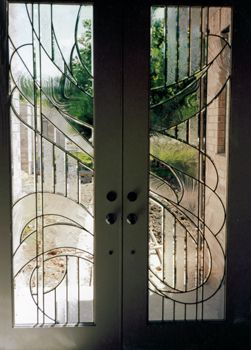 ArtGlassByWells | Contemporary custom leaded glass front entry doors ...