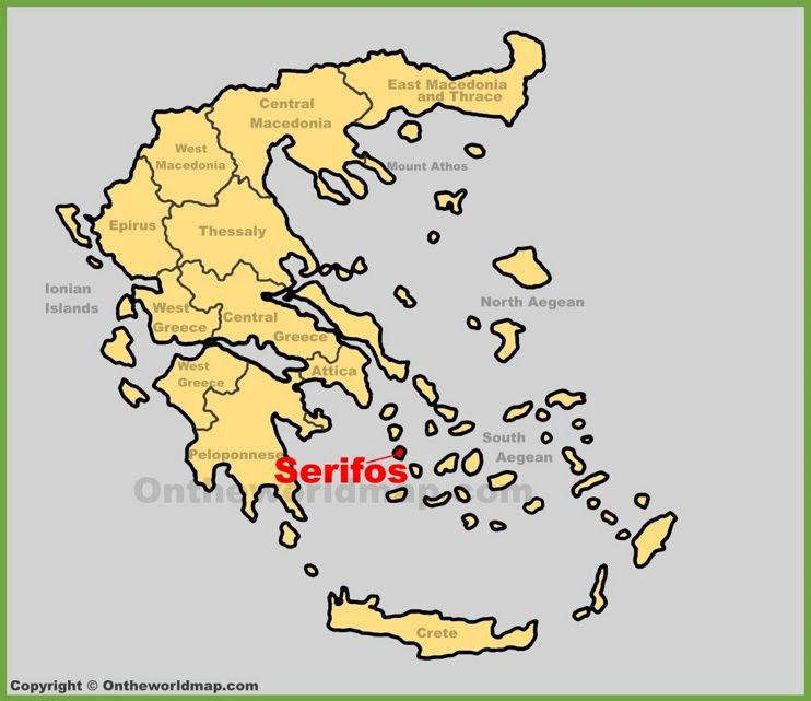 Serifos location on the Greece map Maps Pinterest Greece islands