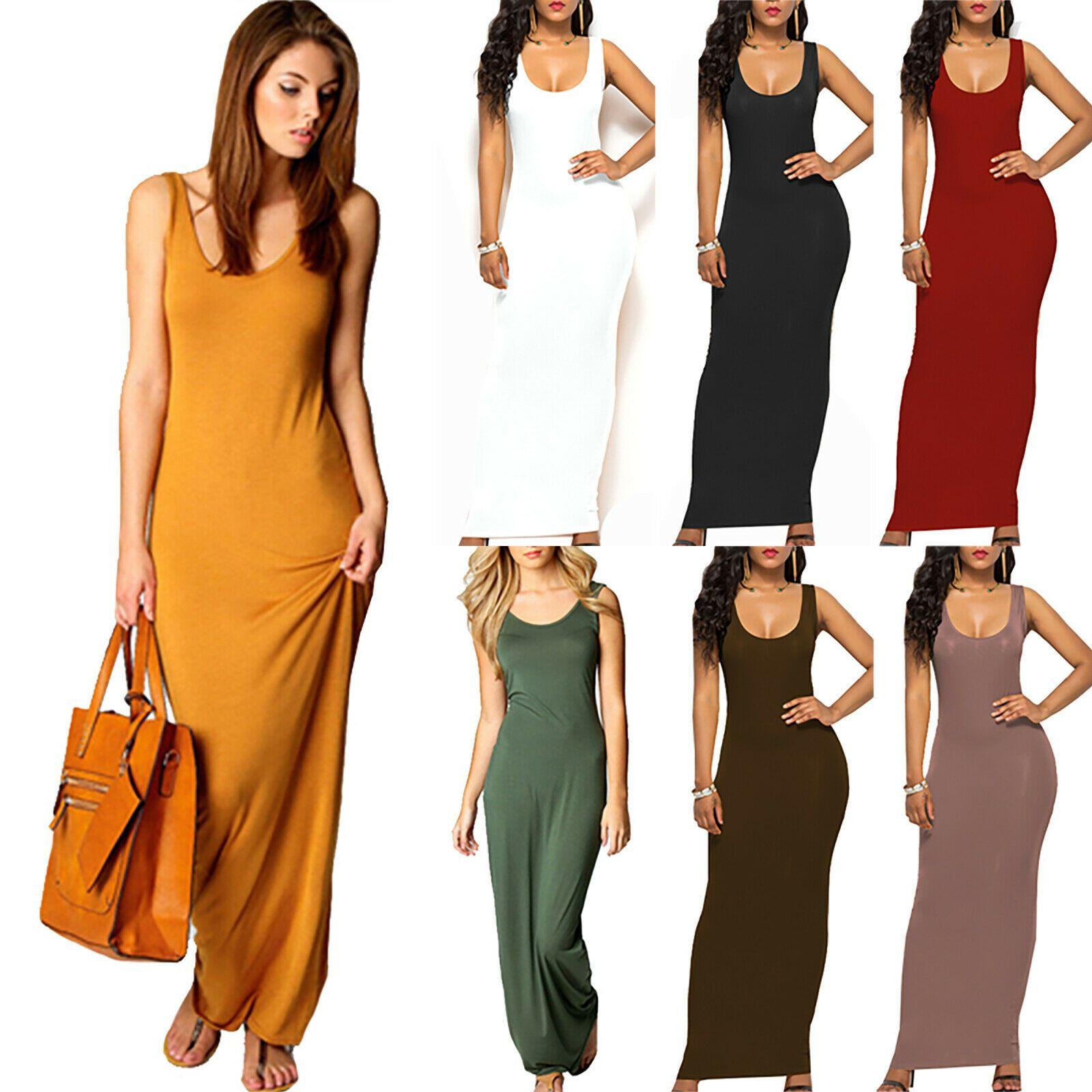 Women Sleeveless Bodycon Slip Dress Holiday Party Solid Plain Long Maxi Dress Us Long Dresses Maxi Dress Cocktail Womens Maxi Dresses Bodycon Maxi Dresses [ 1600 x 1600 Pixel ]