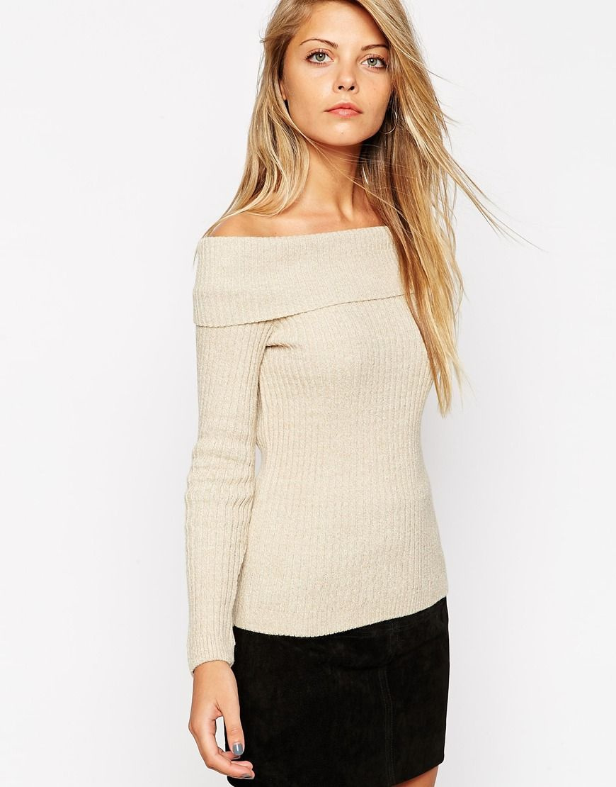 973037672b3c17 Image 1 of ASOS Rib Jumper With Off Shoulder