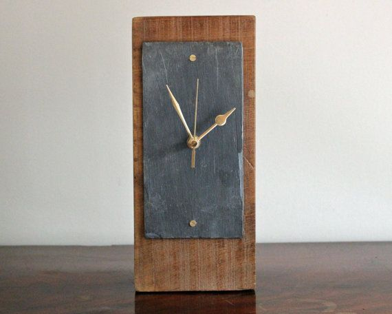 Tall Rustic Wooden Mantel Clock With Salvaged Slate Face 16 207 Wooden Mantel Clock Modern Mantel Clocks