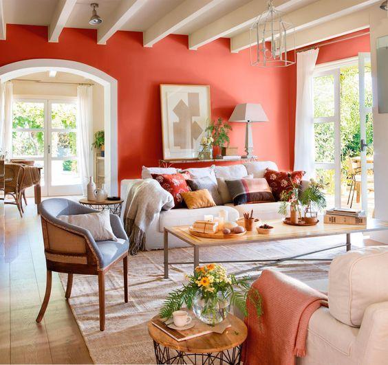 Salón otñal-Pano27-28 Acogedor, Manta y Espacios - colores calidos para salas