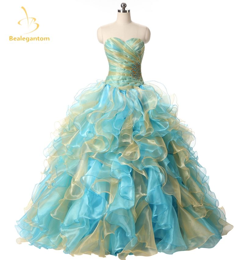 1b963468121 Bealegantom Gradient Stock Quinceanera Dresses Ball Gown 2017 Beaded  Crystals Lace Up Sweet 16 Dress Vestidos De 15 Anos QA1101