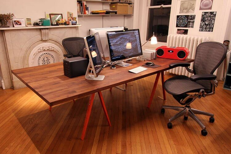 The Beautiful Big Table A Perfect Dual Workstation Ikea Desk