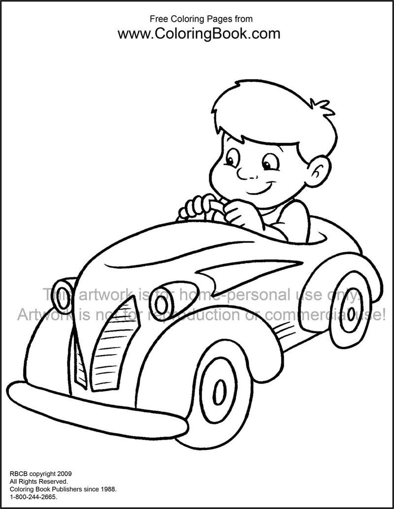 Colouring Pages Kid In Car