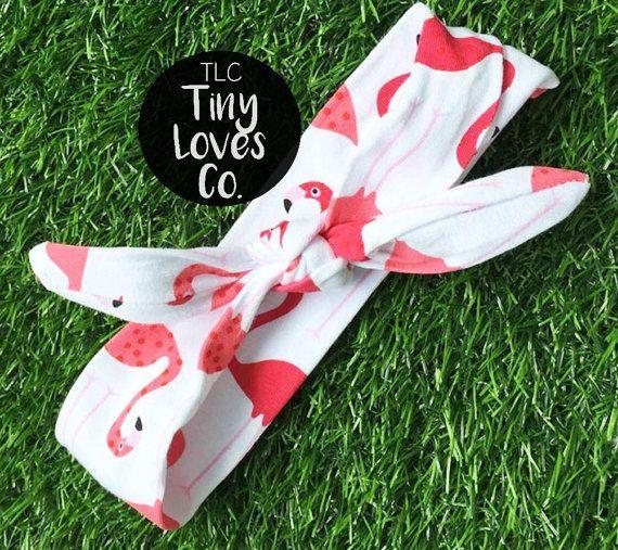 Baby Headband. Infant Headband. Knot Bow. flamingo headband. newborn headband. summer headband. baby headband. baby hair bow. flamingo bow