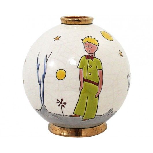 "With this Ball, the pottery work ""Emaux de Longwy""   is telling with   enamels the poetic story of The Little Prince by Antoine de Saint-Exupéry.     Ivory background, colorful character, details gilded with fine gold 21.7 ct."
