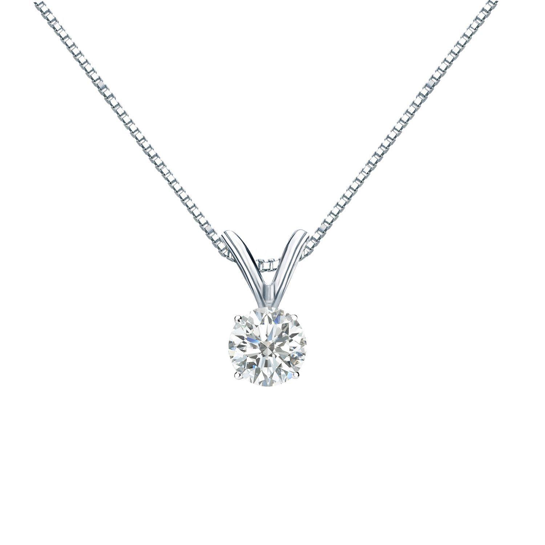 e3a674f685098 Auriya 14k Gold 1/4ct TDW Round-Cut Diamond Solitaire Pendant (I-J ...