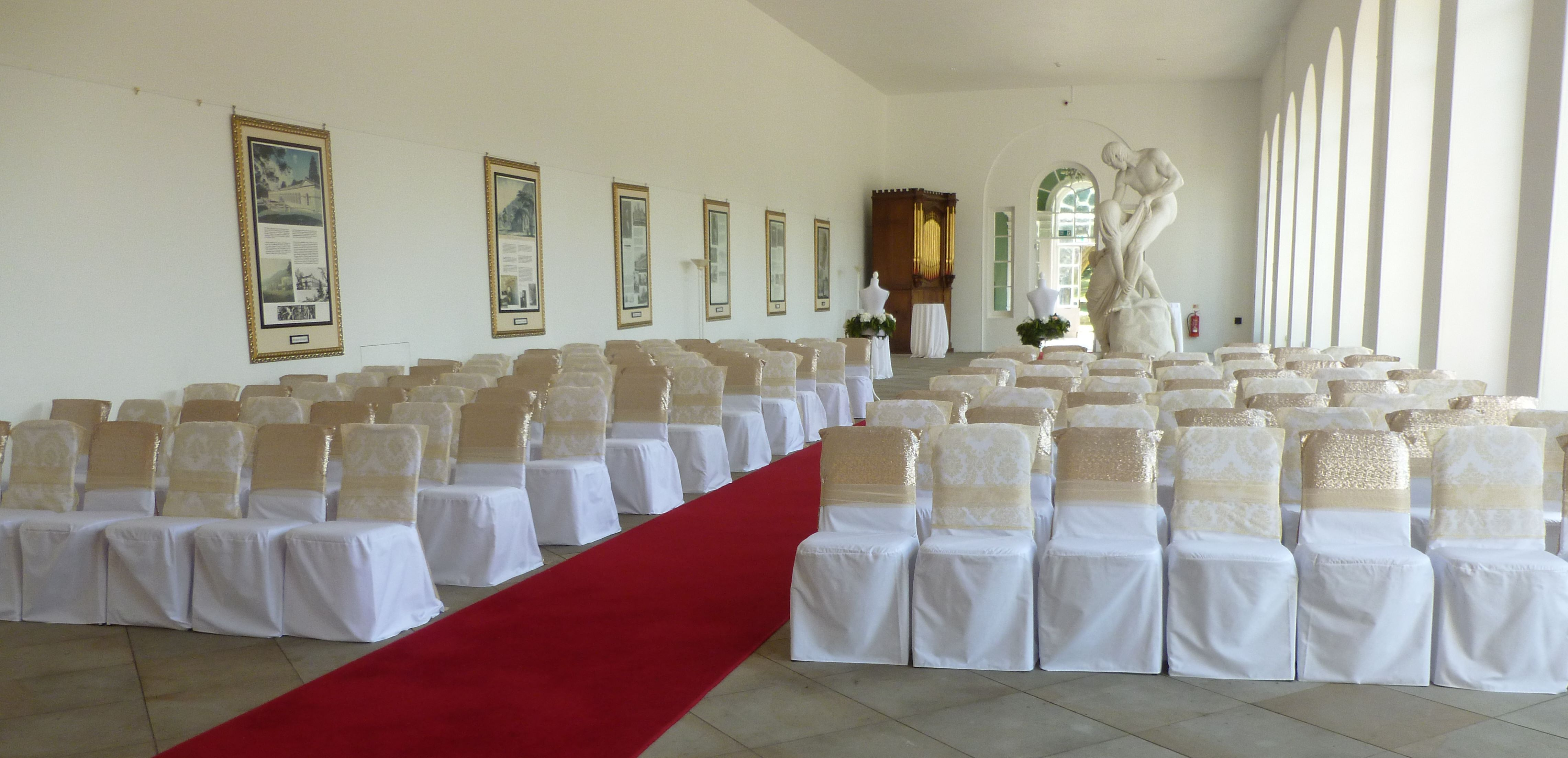 Margam Orangery dressed for a civil ceremony by Simply Bbows and