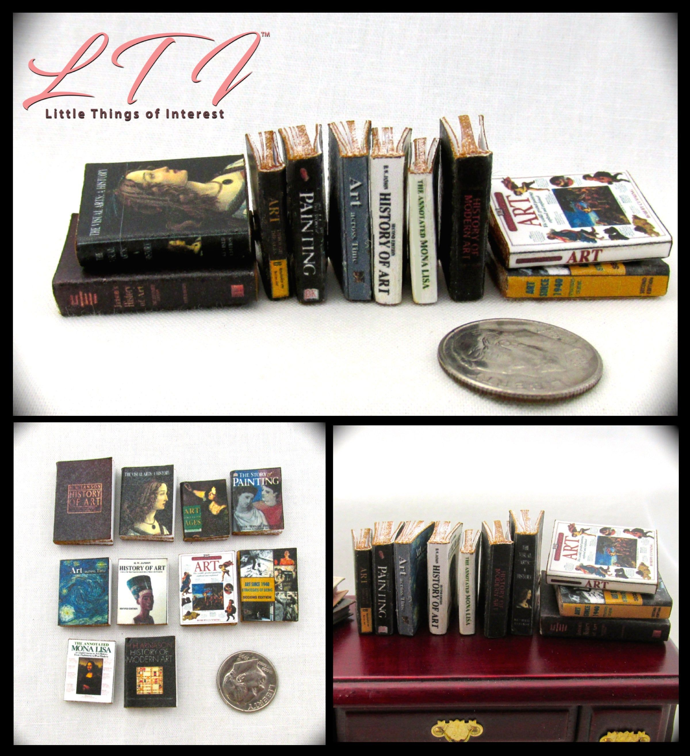 """1:24 Scale 10 OLD LIBRARY Miniature Books Prop Faux Fill a Bookshelf 1//2/"""""""