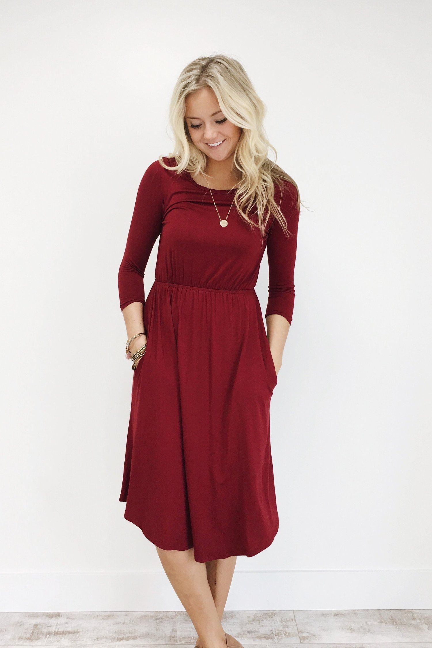 The Bethany Dress in Burgundy | ROOLEE