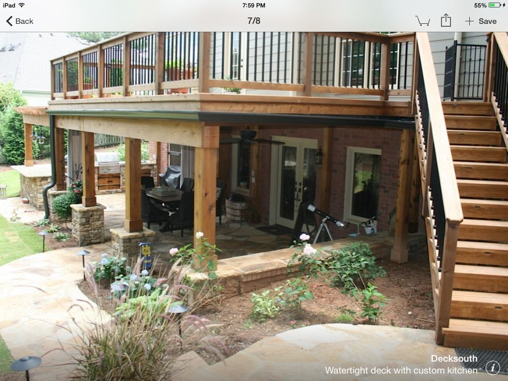 Under deck columns with stacked stone base retaining wall for Under porch ideas