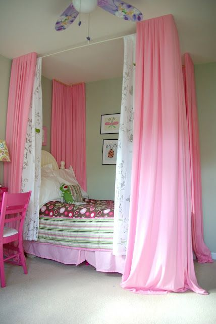 Bright Colorful Girl Bedroom Small Changes With A Big Impact Our House Now A Home Girls Bed Canopy Bedroom Diy Canopy Bed Diy
