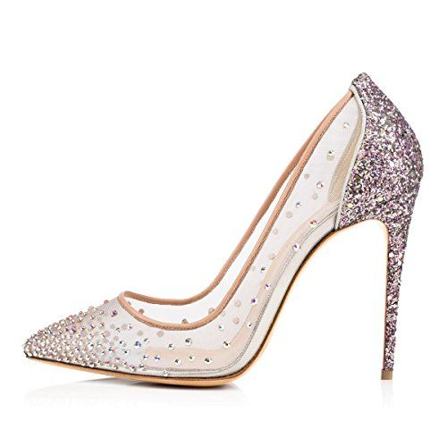 Onlymaker Women Crystal Studded Handmade PointedToe Stiletto High Heel Dress Shoes silver US10 * Continue to the product at the image link.
