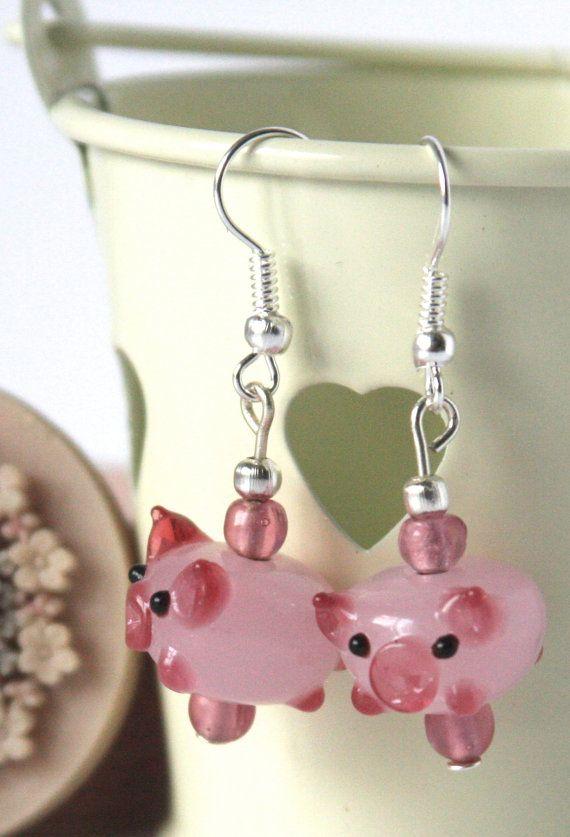 Handmade drop, dangle earrings, lamp glass pink pig bead - made to order