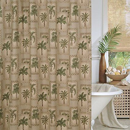 Fabric Palm Tree Prints Shower Curtain Made From 100 Cotton Duck