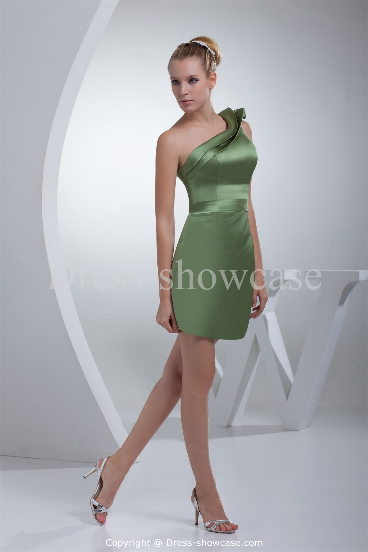 Dark olive green short satin one shoulder bridesmaid dress wedding