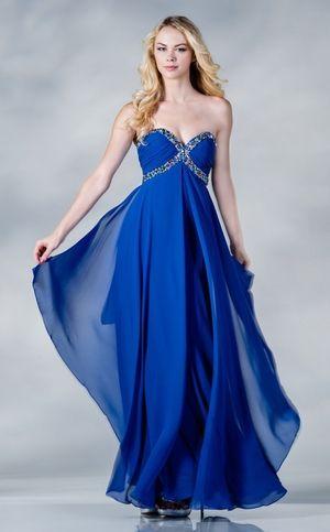 Beautiful Long Strapless Royal Blue Chiffon Dress Flowy Jewels ... a5f7ffd7b035