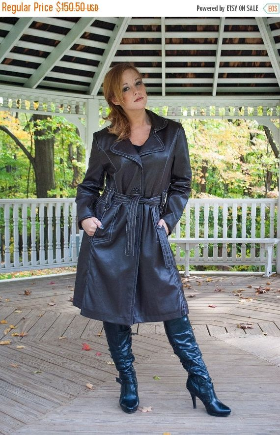 ON SALE PVC Raincoat Women Pvc Trenchcoat 70s Rain Jacket Pvc ...