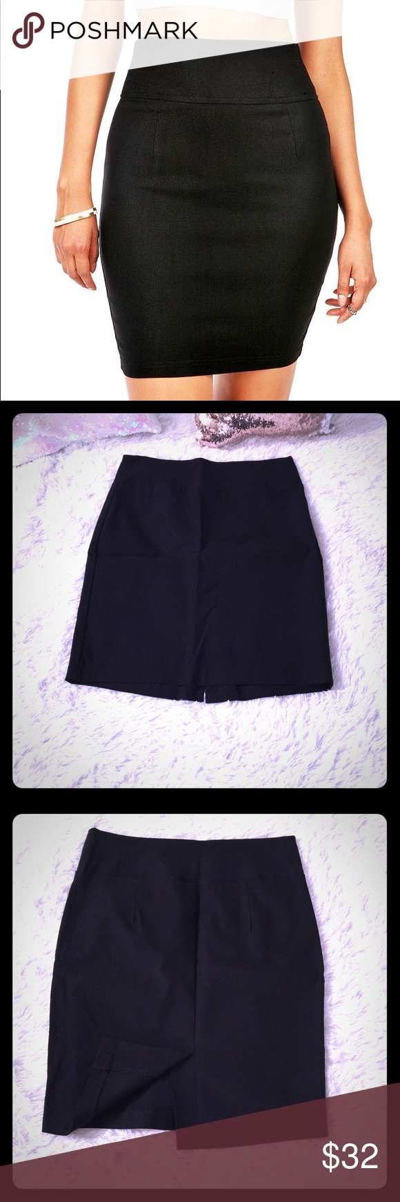 62caee22429 IZ Beyer High Waist Bandage Skirt! New without Tags! Thick band high waisted!  Has small slit in back! Hugs your body with poly Spandex material! Jet  black!