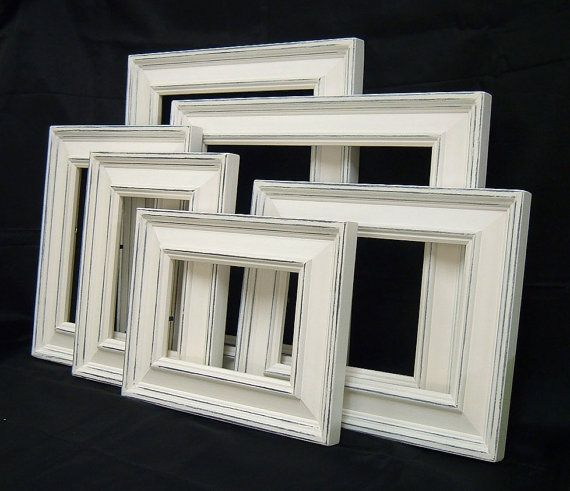 Picture Frame Set White Shabby Chic Frames Home Decor Rustic
