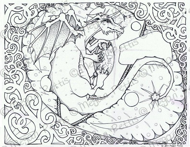 dragon eyes intricate adult coloring book page instant download digital file complicated
