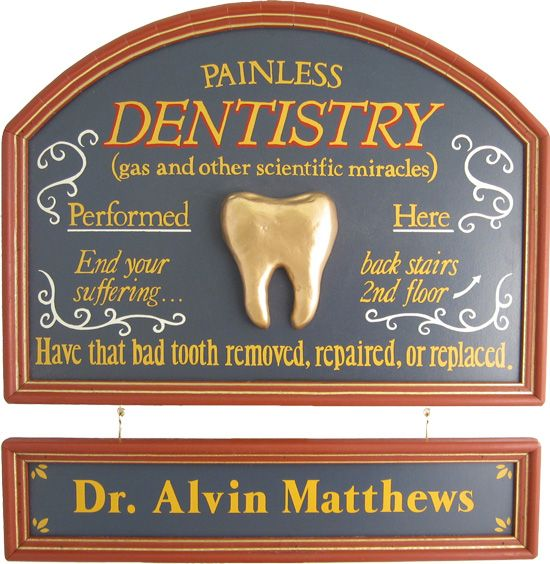 Vintage Dentist Plaque With Custom Hanging Name Plank